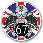 Year Dated 1967 Cafe Racer Roundel Design & Union Jack Flag Vinyl Car sticker decal 90x90mm